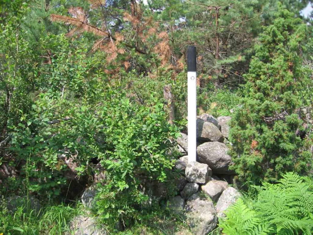 Muistsete põldude tähis põldude keskel asuvas kiviaedade nurgas. Foto: M. Koppel, 2011.
