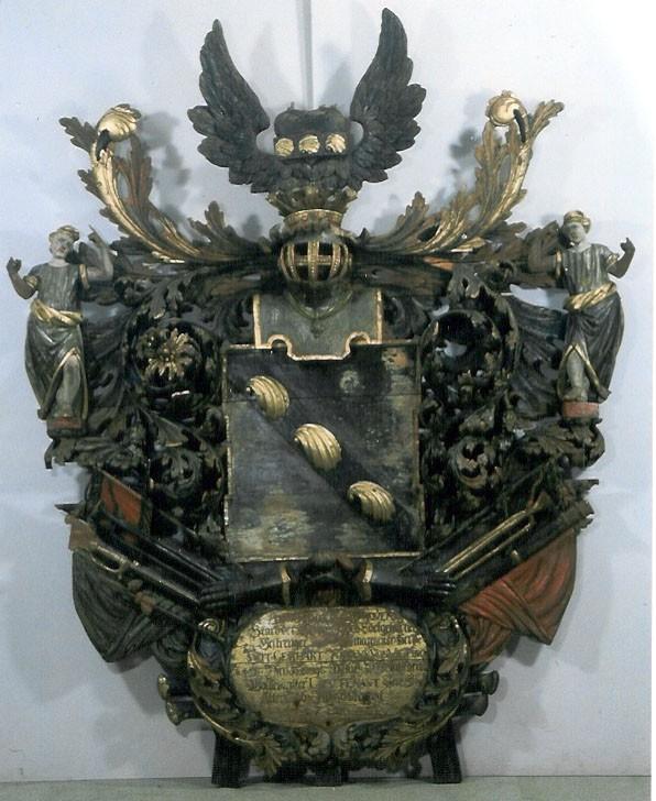 G. J. v. Vietinghofi vappepitaaf. Umb. 1693 (puit, polükroomia). Foto: Toomkiriku vapitökoda 1996