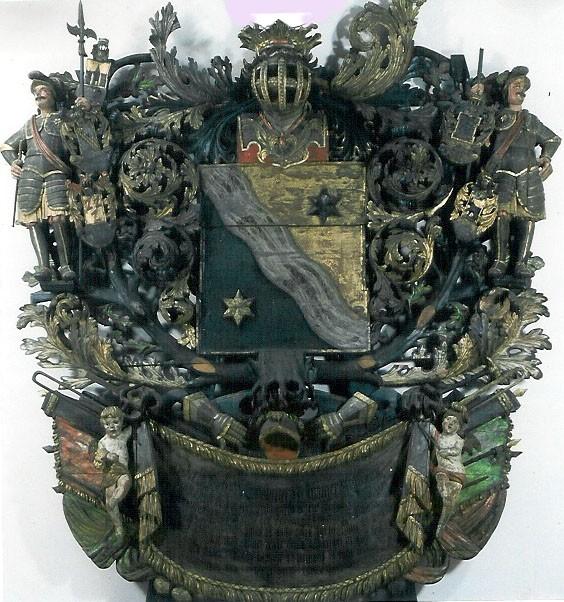T. J. v. Bellingshauseni (Bellinkhauseni) vappepitaaf. Umb. 1695 (puit, polükroomia). Foto: Toomkiriku vapitöökoda 1994