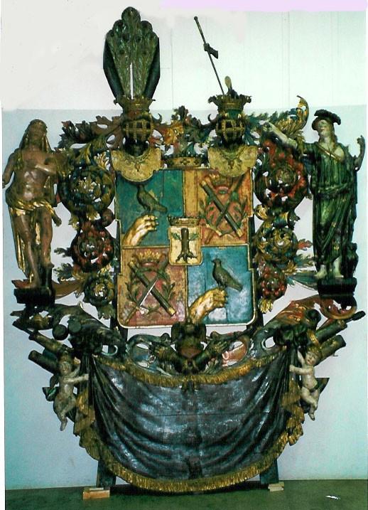 J. J. v. Taube vappepitaaf. Chr. Ackermann (?), umb. 1696 (puit, polükroomia). Foto: Toomkiriku vapitöökoda 2000
