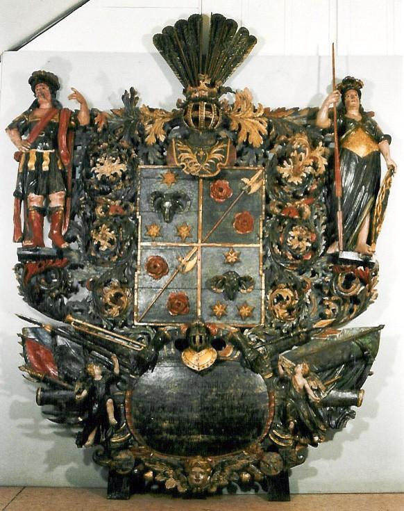 J. v. Baghiyweti (Baggehufwudti) vappepitaaf. Chr. Ackermann (?), umb. 1702 (puit, polükroomia). Foto: Toomkiriku vapitöökoda 2004