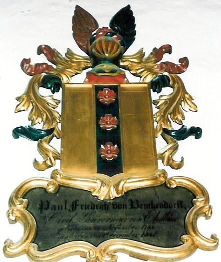 P. F. v. Benckendorffi vappepitaaf. Umb. 1841 (puit, polükroomia). Foto: Toomkiriku vapitöökoda 1994