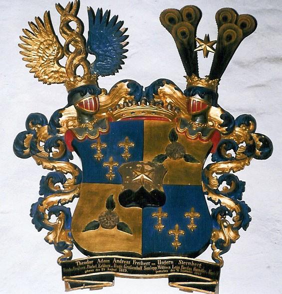 T. A. A. v. Ungern-Sternbergi vapp-epitaaf. Umb. 1847 (puit, polükroomia). Foto: Toomkiriku vapitöökoda 1996