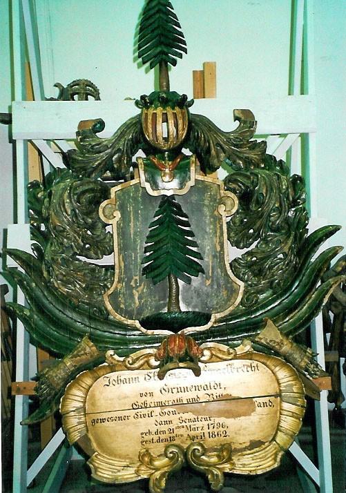 J. C. E. v. Grünewaldti vapp-epitaaf. Umb. 1862 (puit, polükroomia). Foto: Toomkiriku vapitöökoda 1993