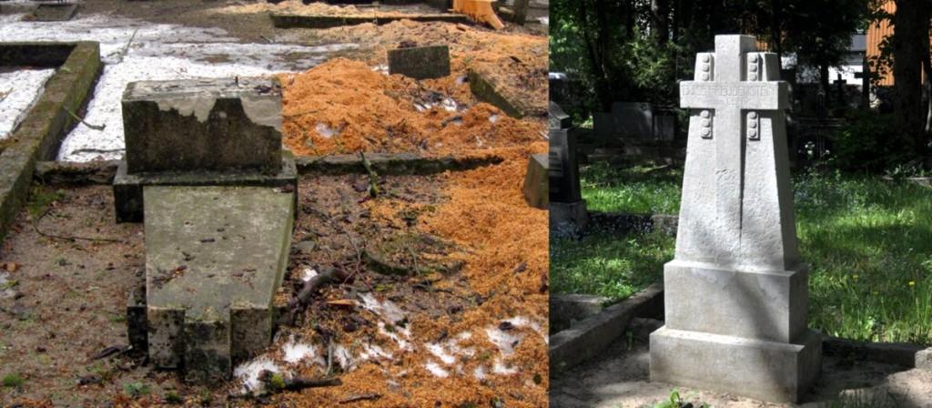 Restaureeritud hauatähis. T. Padu foto aug 2011