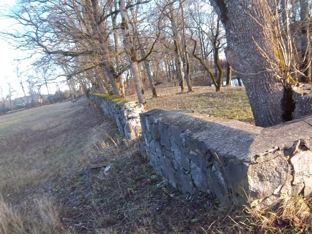 Rabivere mõisa pargi piirdemüür pargi põhjapoolses osas. K. Klandorf 28.12.2011