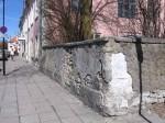 Vaade aadlielamu piirdemüürile, mis on värvitud sinakas-halliks ja valgeks. Tegemist on tüüpilise sokliga ja paekiviplaatidega kaetud Kuressaare tüüpi krohvitud paekivimüüriga. Foto: M.Koppel 2012