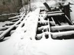 Pada mõisa vesiveski, reg. nr 16040. Vaade läänest veskitammile-sillale. Foto: M.Abel, kuupäev 30.01.2013