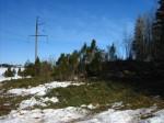 Tõrma Hiiemägi (reg nr 10356), vaade kõrgepingeliini kaitsevööndi raietöödele. Foto: M. Abel, 04.04.2013.