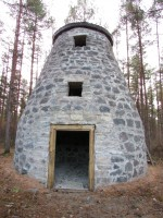 Konserveeritud Vainu talu tuulik, esikülg. Foto: K. Saks, 05.11.2015