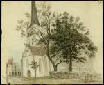 C. Fr. G. Buddeus. Oleviste kiriku vaade pärast restaureerimist 1830-1840. aastad. Foto: Eesti Ajaloomuuseum