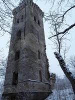 Lehtse mõisa peahoone varemed. Foto: Raili Uustalu 20.12.2018. Vaade säilinud tornile põhjast.