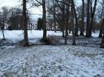 Udriku mõisa park. Foto: Raili Uustalu 07.12.2018. Vaade saarelt peahoone suunas ja sillale. Vaade on suletud seemnetekkeliste puudega.