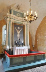 Altarisein. Figuurid Chr. Ackermann, 1700(?), korpus, 1787 (puit, polükroomia, dolomiit) Foto:  Tõnis Padu, aprill 2011