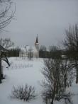 Vaade Suure-Jaani kirikule järve tagant. Foto: Anne Kivi, 12.02.2013