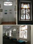 Väike-Maarja seltsimaja, reg. nr. 5821. Vaade seltsimaja jalutussaalile, aknavitraažid kavandas Katrin Kõrvits-Linde. Foto: M.Abel, kp. 11.06.13