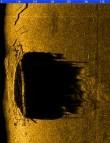 Vraki kujutis külgvaate sonari ekraanil. Foto: Muinsuskaitseamet 27.08.2013.
