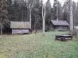 Uustalu saun. Foto: Raili Uustalu 08.11.2018. Vaade hoonetele kirdest (pildil vasakul on kuur, keskel kooguga kaev ja paremal saun).