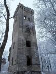 Lehtse mõisa peahoone varemed. Foto: Raili Uustalu 20.12.2018. Vaade säilinud tornile kirdest.