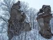 Lehtse mõisa peahoone varemed. Foto: Raili Uustalu 20.12.2018. Vaade säilinud seina fragmendile põhjast.