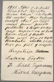 Tornist leitud töömeeste kiri 1912. aastast. Foto: Jaanus Heinla (Kanut)