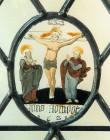 """Vitraažaken koopiaga klaasimaalist """"Kristus ristil. Hans Homodt. 1621"""". EKA, 1998 (puhutud klaas, klaasimaal, tinaraamid) Foto: T.Kohv 1998"""
